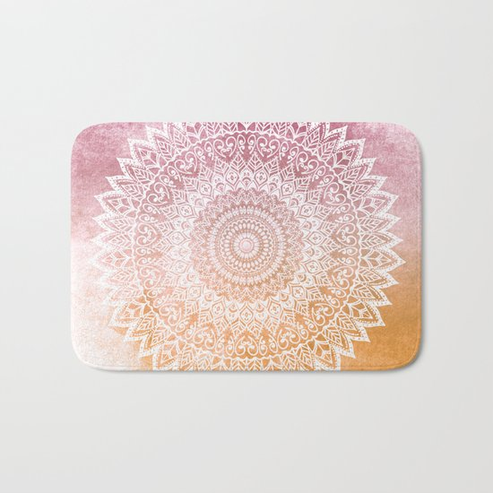 SUMMER LEAVES MANDALA Bath Mat