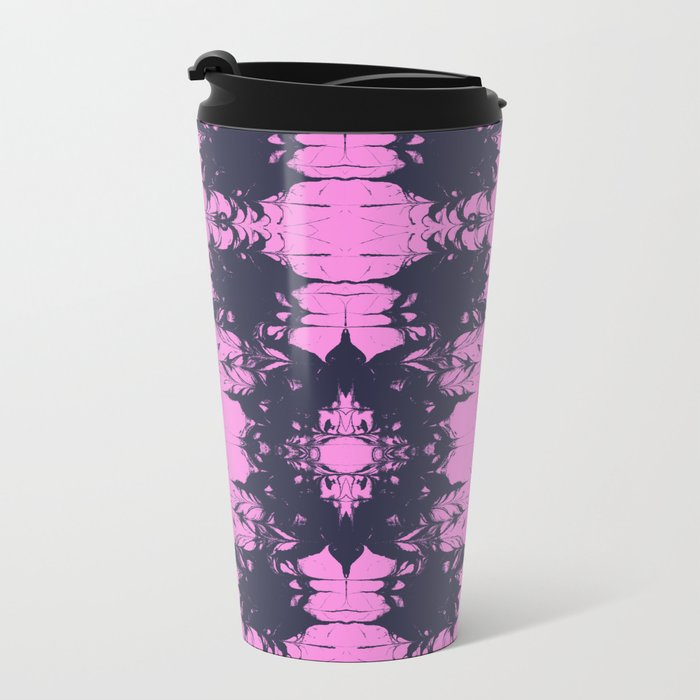 Tsuyo - spilled ink abstract painting japanese marbled paper marble marbling pink and blue art Metal Travel Mug