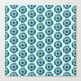 Turquoise Bue Daisy Pattern,Retro Canvas Print