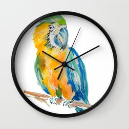 Parrot watercolour painting Wall Clock
