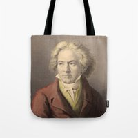 beethoven Tote Bags featuring Beethoven by Palazzo Art Gallery