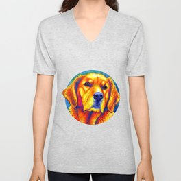 Faithful Friend - Colorful Golden Retriever Unisex V-Neck