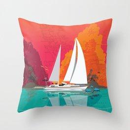Sailing to Delos Throw Pillow