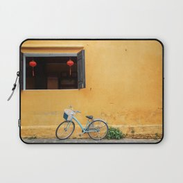 Bicycle and yellow wall. Laptop Sleeve