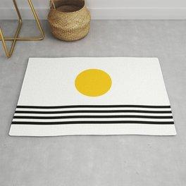 Midcentury Yellow Minimalist Sunset With Black Stripes Rug
