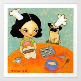 Kitchen Art Pug dog helps make perogies cute food art poster painting  by Tascha Art Print