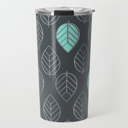 Mint & Silver Leaves Pattern & Slate Travel Mug