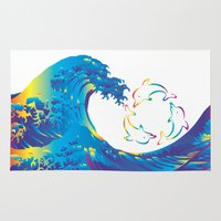 hokusai Area & Throw Rugs featuring Hokusai Rainbow & rotating dolphins_D by FACTORIE