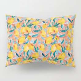 Lucky Lemons Watercolor Fruit Pattern in Peach and Yellow Pillow Sham