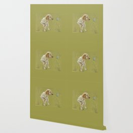 The First Spring Butterfly English Setter Puppy Pastel Drawing on green background Wallpaper