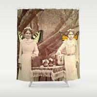 fairies Shower Curtains featuring Winter Fairies by Apples and Spindles