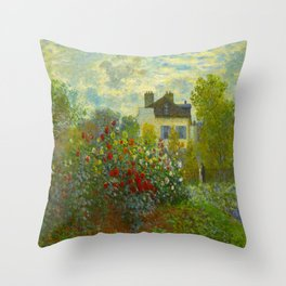 Claude Monet Impressionist Landscape Oil Painting A Corner of the Garden with Dahliass Throw Pillow