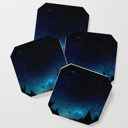 Black Trees Turquoise Milky Way Stars Coaster