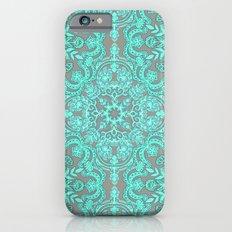 Mint Green & Grey Folk Art Pattern Slim Case iPhone 6