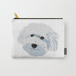 Bichon Poodle White Dog Fluffy Face Good Boy Carry-All Pouch