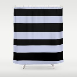 Illuminated Violet - Twilight Mist - Carousel Purple Hand Drawn Fat Horizontal Lines On Black Shower Curtain