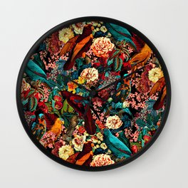 FLORAL AND BIRDS XVII Wall Clock