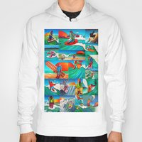 surfing Hoodies featuring Surfing by Ollie Longuet