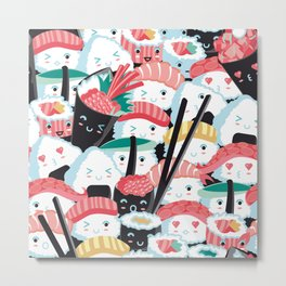 Kawaii Sushi Crowd Metal Print