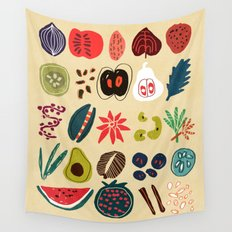 Fruit and Spice Rack Wall Tapestry