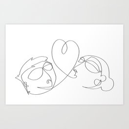 Love at one draw Art Print