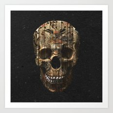 Vintage American Tattoo Skull Wood Stripes Texture Art Print