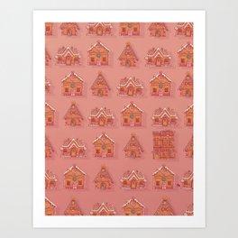 Gingerbread house pattern Art Print