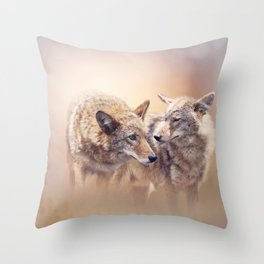 Two Young coyotes at sunset Throw Pillow