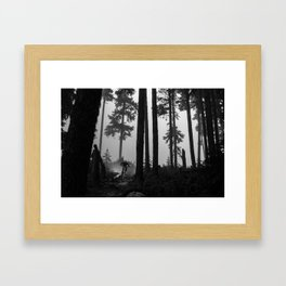 Mountain Biker in the Misty Bike Park Framed Art Print