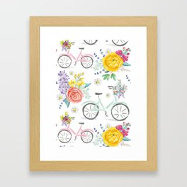 Bike and bouquets pattern Framed Art Print