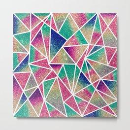 Multicolored Glitter Gradient Geometric Triangles Metal Print