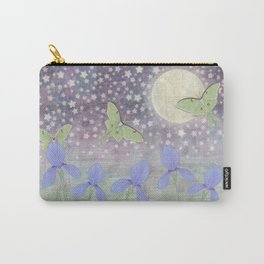 luna moths around the moon with starlit irises Carry-All Pouch