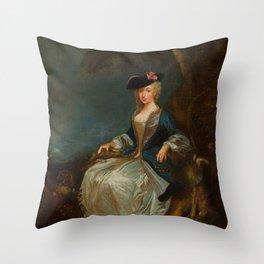 """Antoine Watteau """"Retour de Chasse: Portrait of Marie-Louise Sirois"""" Throw Pillow"""