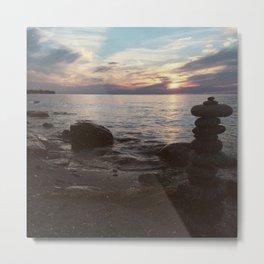 Stacked Stones at Niagara River Metal Print