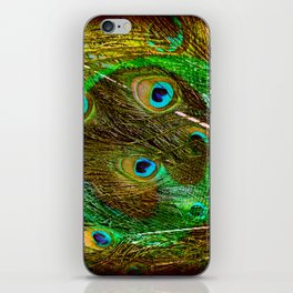 The Peacock Dream In Gold iPhone Skin