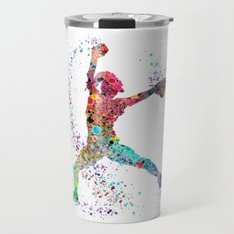 Baseball Softball Pitcher Watercolor Print Art Print Girl's Softball Painting Travel Mug