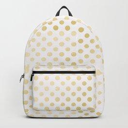 Vintage rustic faux gold white elegant polka dots pattern Backpack