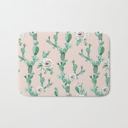 Green Coral Pink Cactus Rose Pattern Bath Mat