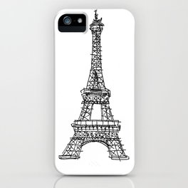 Eiffel Tower Graphic Pen Sketch iPhone Case
