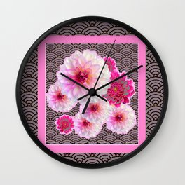 GREY & PINK PATTERNED FUCHSIA CERISE-WHITE DAHLIAS Wall Clock
