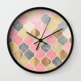 Silver Grey, Soft Pink, Wood & Gold Moroccan Pattern Wall Clock