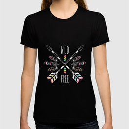 """Ethnic frame made of feathers, threads and beads with text """"Wild and Free"""". Freedom concept. T-shirt"""