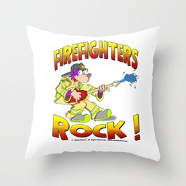 FIRE FIGHTERS ROCK Vibrant Haltone Edition Throw Pillow