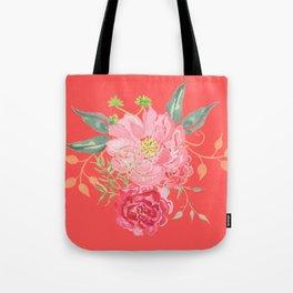 Pink Floral Watercolor Tote Bag