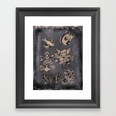 Old Timey Tattoo Flash Framed Art Print