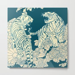 floral tigers Metal Print