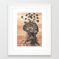 brain Framed Art Prints featuring Brain by Kapena Ornellas