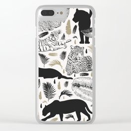Wild Cats and Botanicals Clear iPhone Case