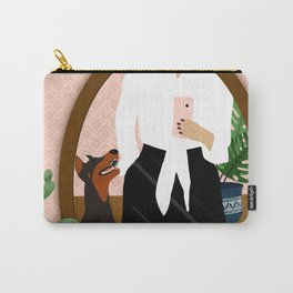 Femme and Fierce // Doberman dog, cactus, evil eye, selfie drawing Carry-All Pouch