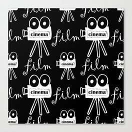black and white seamless pattern with cameras Canvas Print